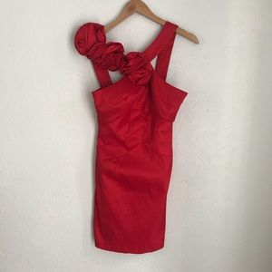 Jessica McClintock Red Ruffle Strap Party Dress